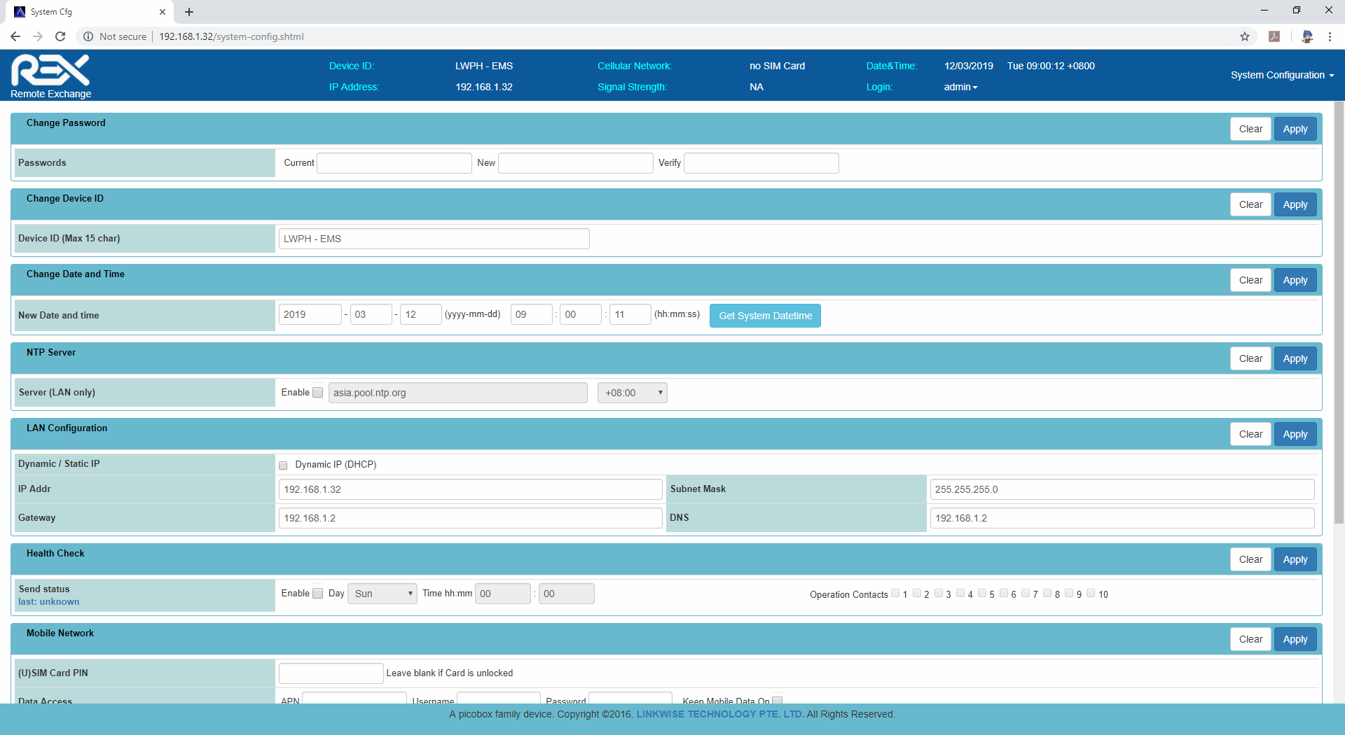 Linkwise technology facility monitoring UI